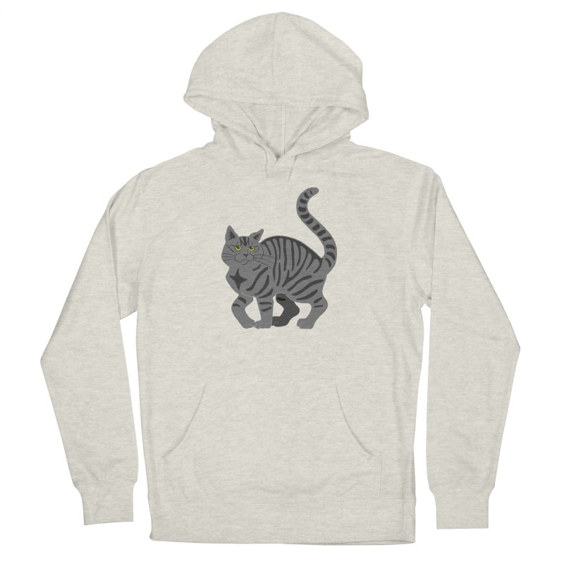 Gray Tabby Cat Men's French Terry Pullover Hoody by Ferine Fire