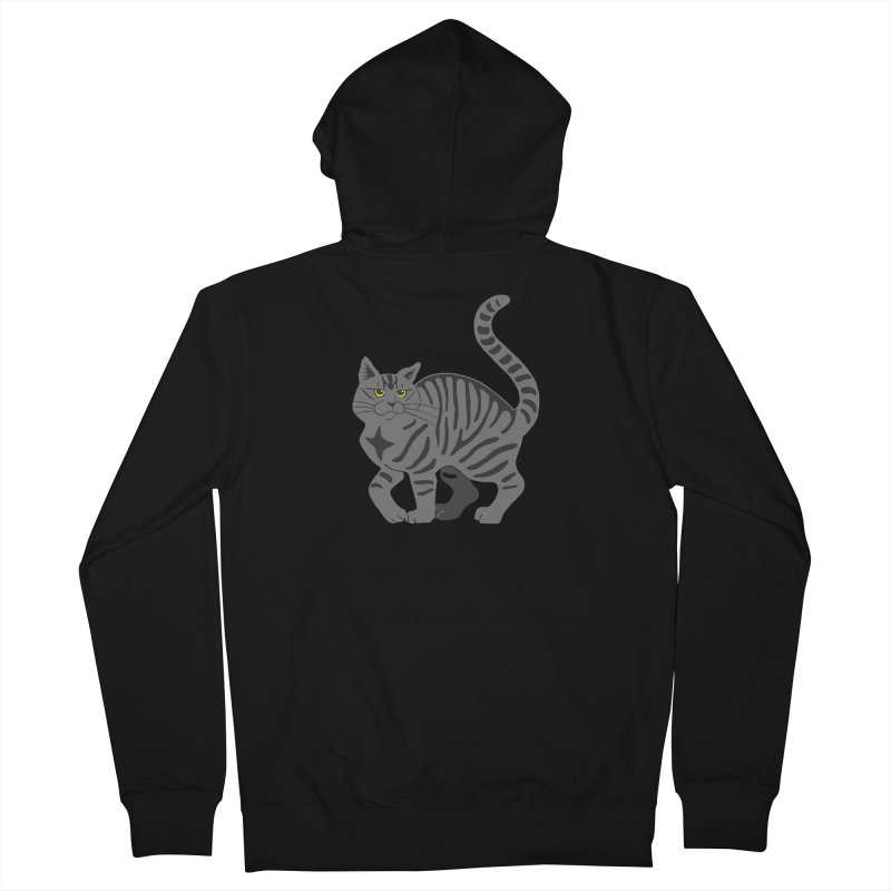 Gray Tabby Cat Men's French Terry Zip-Up Hoody by Ferine Fire