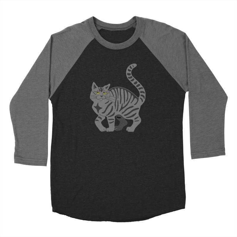 Gray Tabby Cat Women's Baseball Triblend Longsleeve T-Shirt by Ferine Fire