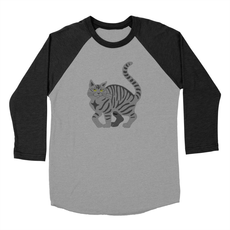 Gray Tabby Cat Men's Baseball Triblend Longsleeve T-Shirt by Ferine Fire
