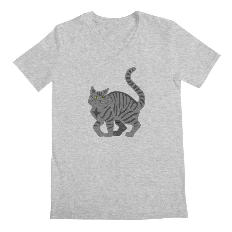 Gray Tabby Cat Men's Regular V-Neck by Ferine Fire