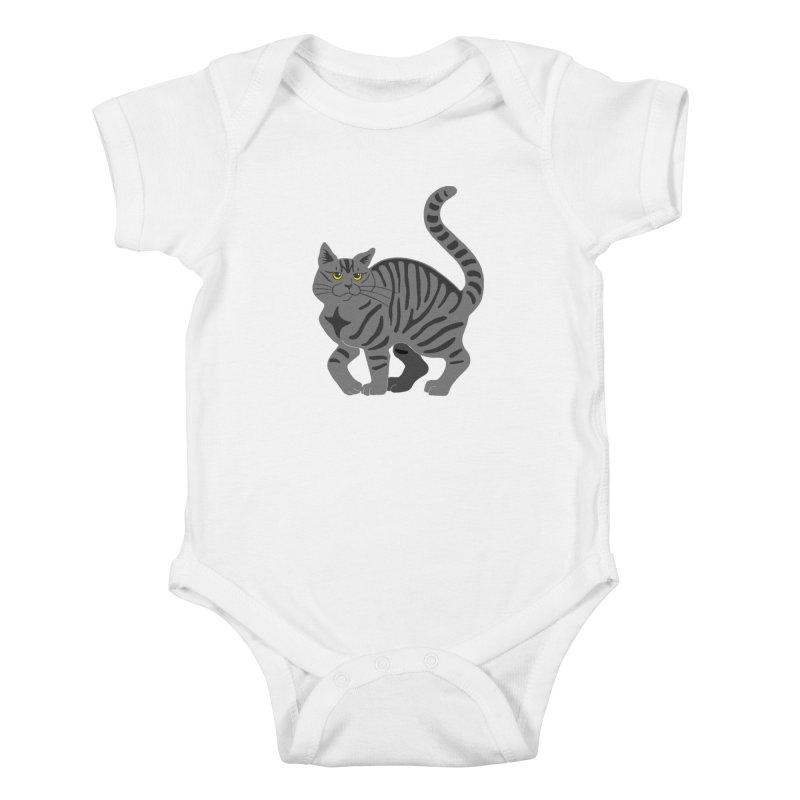 Gray Tabby Cat Kids Baby Bodysuit by Ferine Fire
