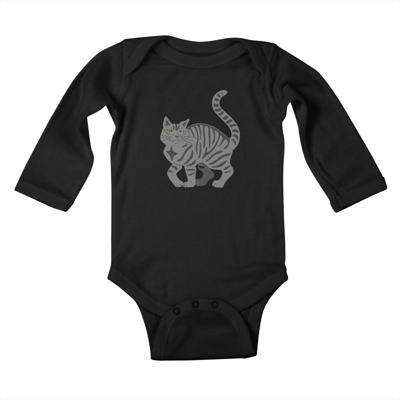 Gray Tabby Cat Kids Baby Longsleeve Bodysuit by Ferine Fire