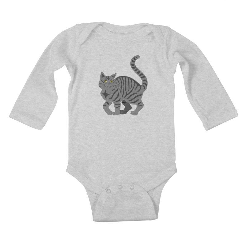 Gray Tabby Cat Kids Baby Longsleeve Bodysuit by Ferine Fire