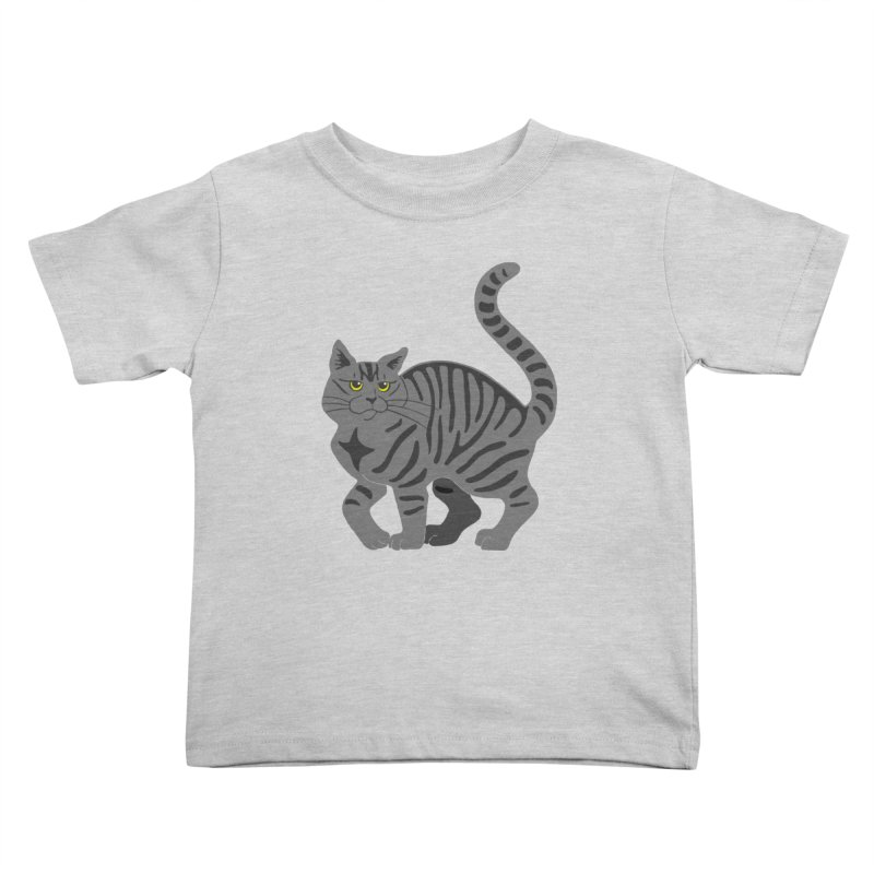 Gray Tabby Cat Kids Toddler T-Shirt by Ferine Fire