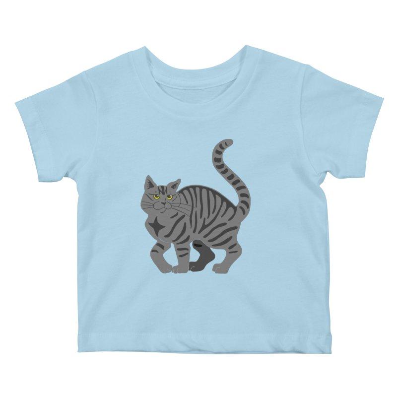 Gray Tabby Cat Kids Baby T-Shirt by Ferine Fire