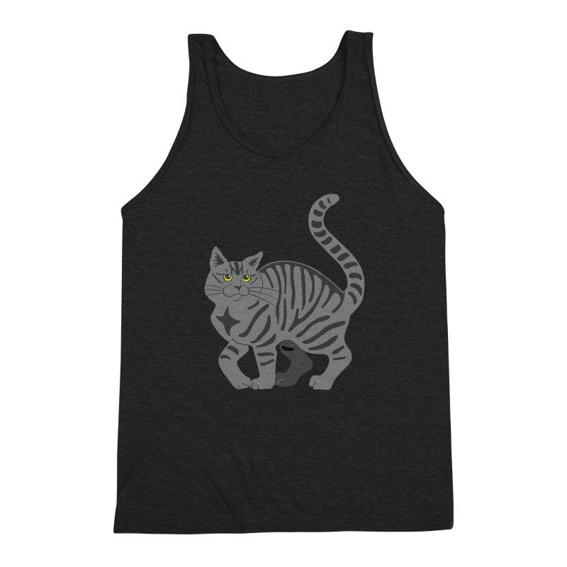 Gray Tabby Cat Men's Triblend Tank by Ferine Fire