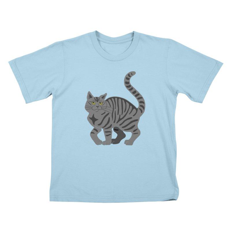 Gray Tabby Cat Kids T-Shirt by Ferine Fire