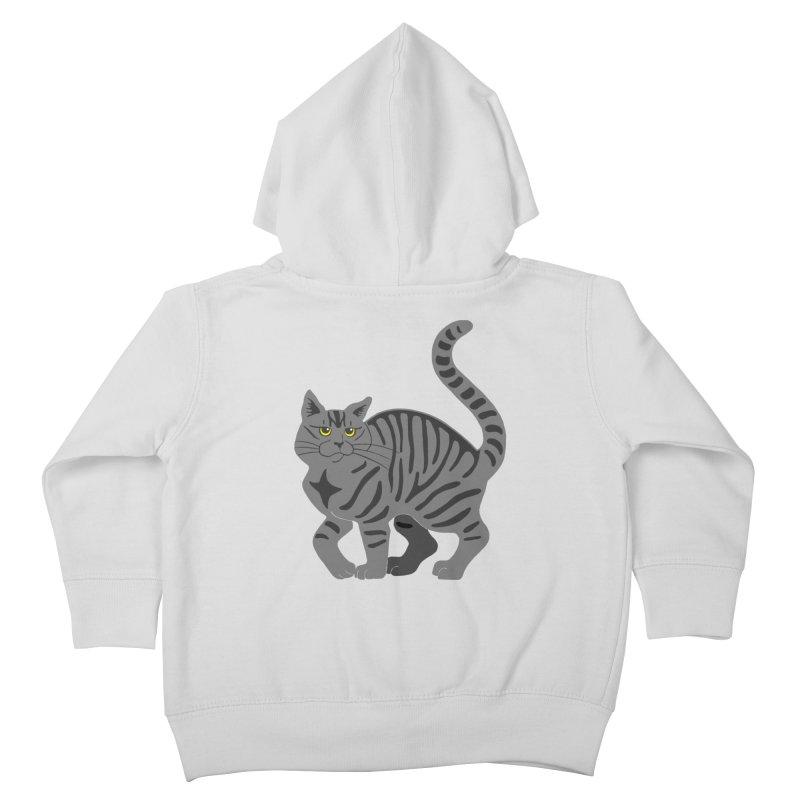 Gray Tabby Cat Kids Toddler Zip-Up Hoody by Ferine Fire