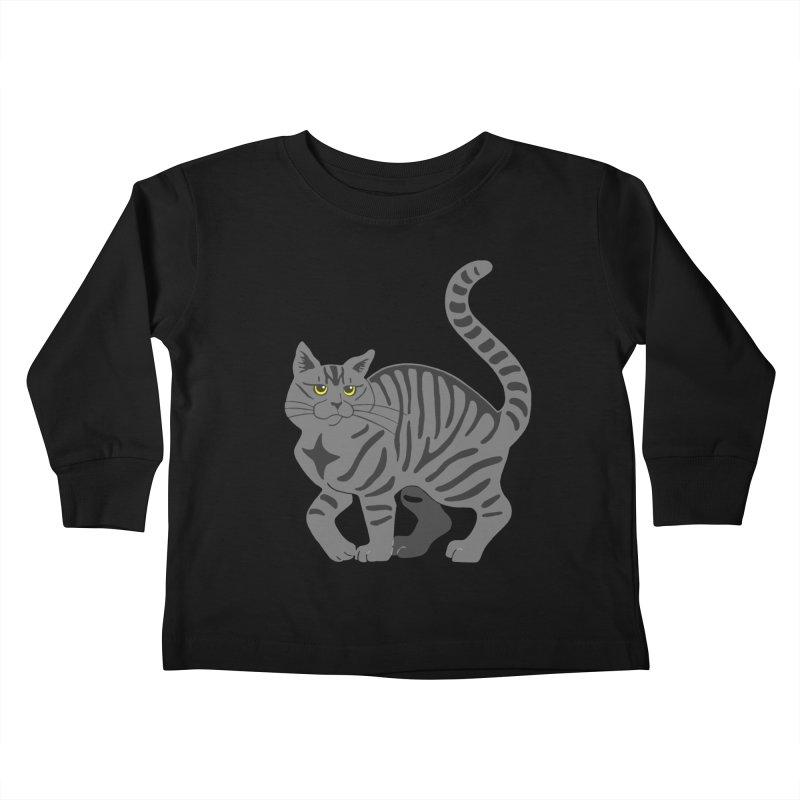 Gray Tabby Cat Kids Toddler Longsleeve T-Shirt by Ferine Fire