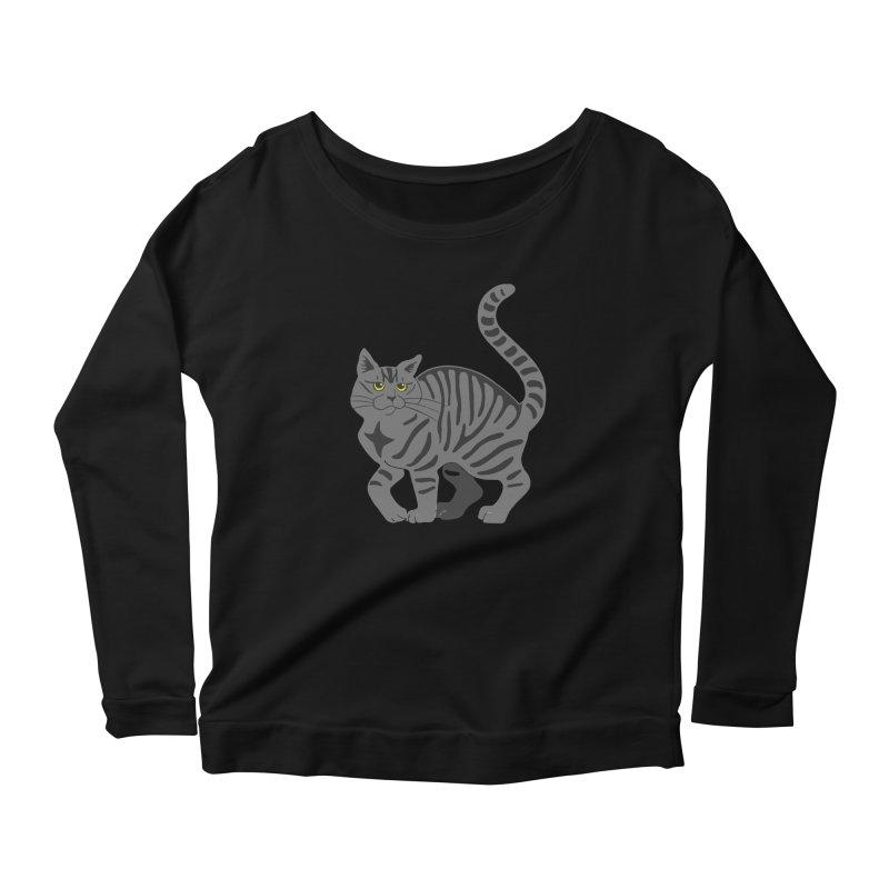 Gray Tabby Cat Women's Scoop Neck Longsleeve T-Shirt by Ferine Fire