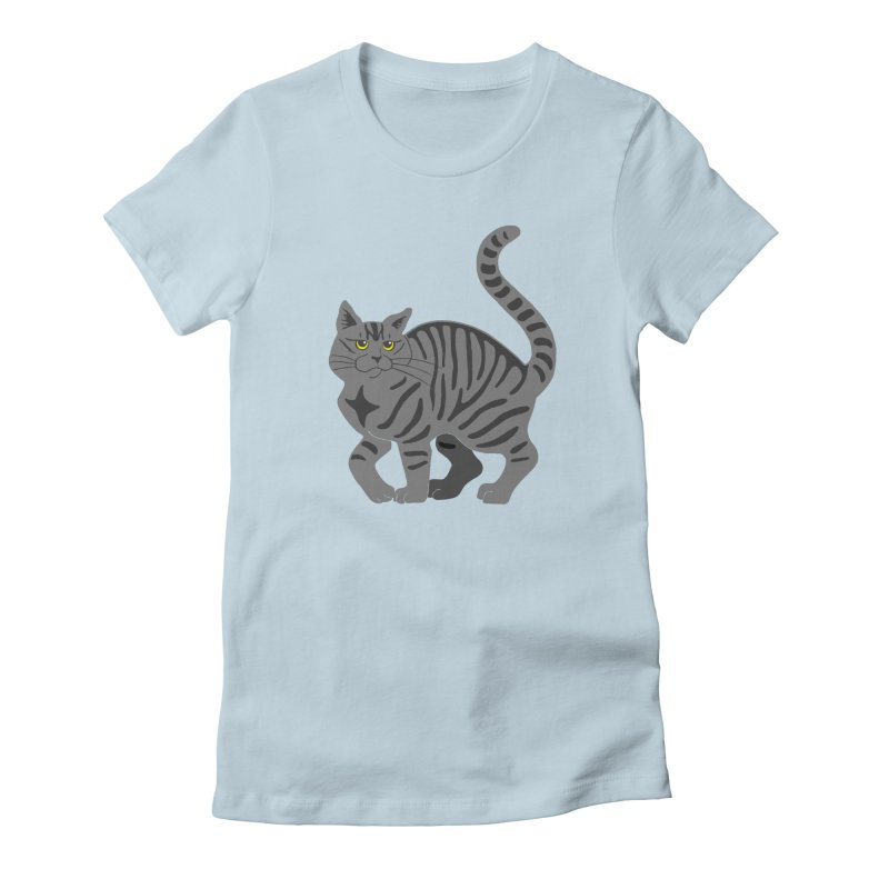 Gray Tabby Cat Women's Fitted T-Shirt by Ferine Fire