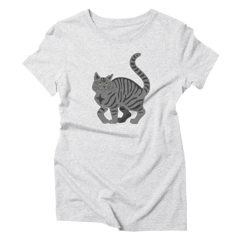 Gray Tabby Cat Women's Triblend T-Shirt by Ferine Fire