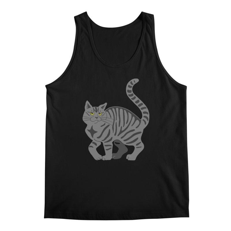 Gray Tabby Cat Men's Regular Tank by Ferine Fire