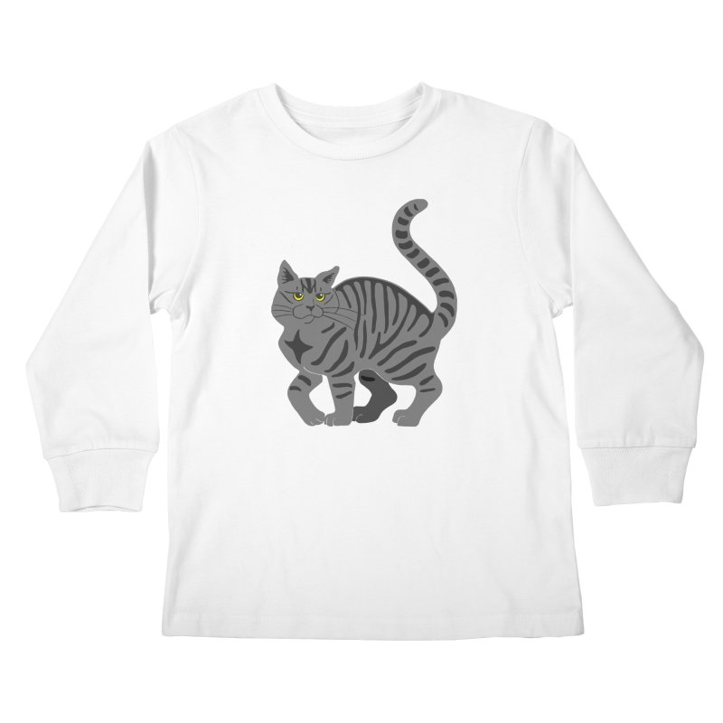 Gray Tabby Cat Kids Longsleeve T-Shirt by Ferine Fire