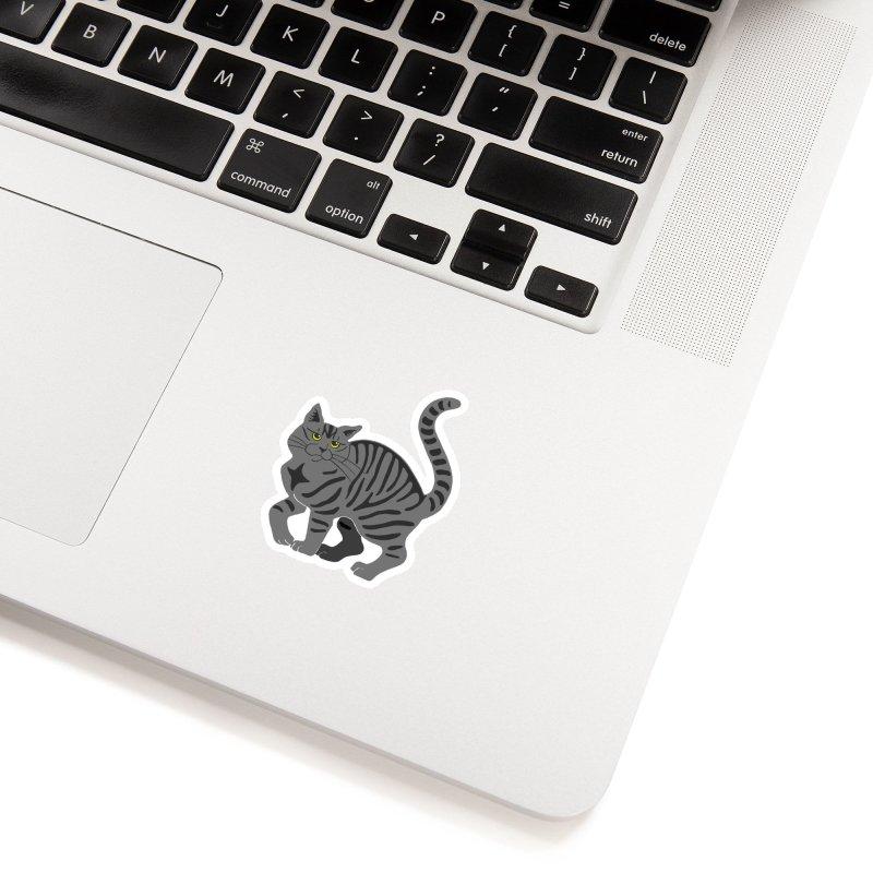 Gray Tabby Cat Accessories Sticker by Ferine Fire