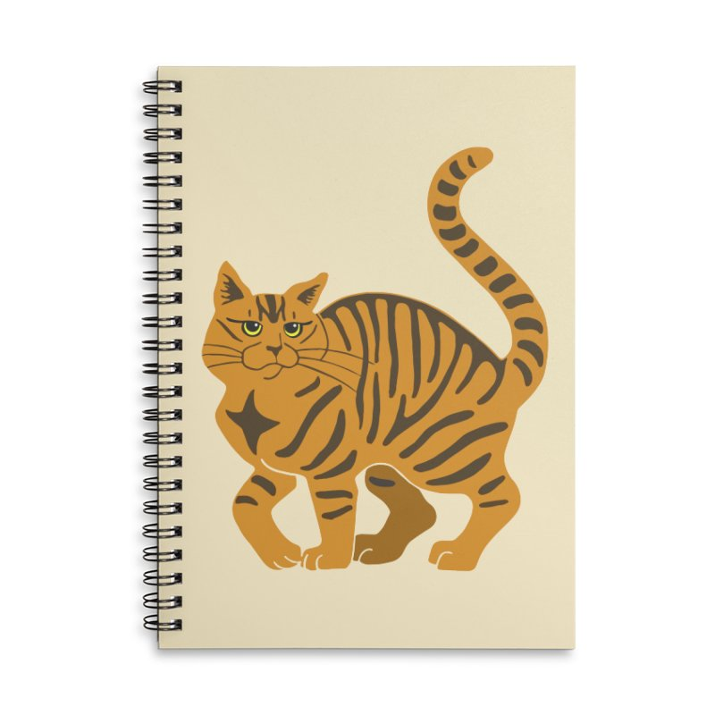 Orange Tabby Cat Accessories Lined Spiral Notebook by Ferine Fire