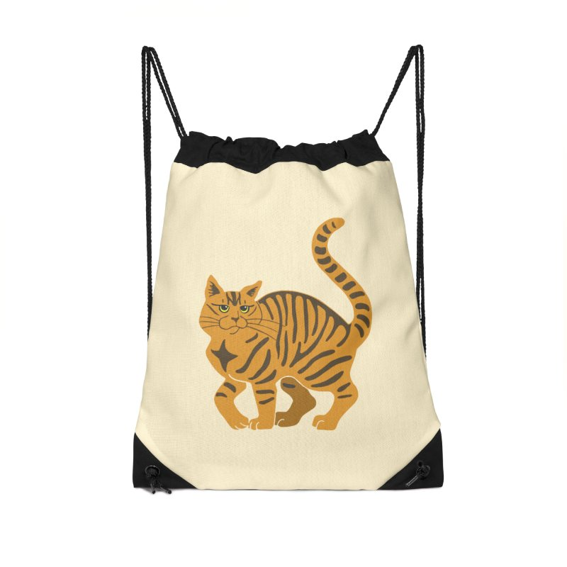 Orange Tabby Cat Accessories Drawstring Bag Bag by Ferine Fire