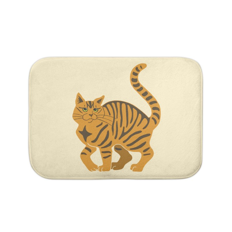 Orange Tabby Cat Home Bath Mat by Ferine Fire