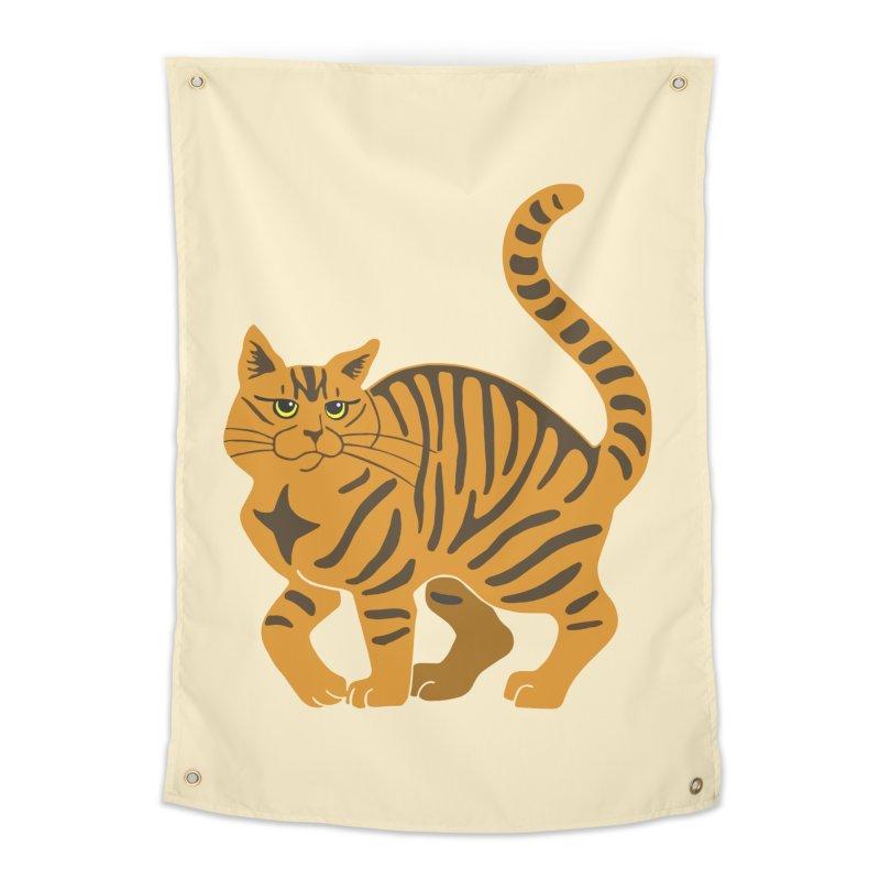 Orange Tabby Cat Home Tapestry by Ferine Fire