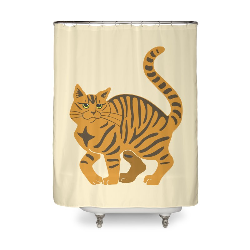 Orange Tabby Cat Home Shower Curtain by Ferine Fire