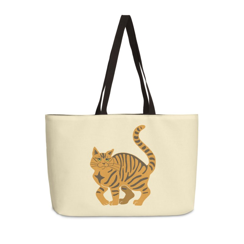 Orange Tabby Cat Accessories Weekender Bag Bag by Ferine Fire