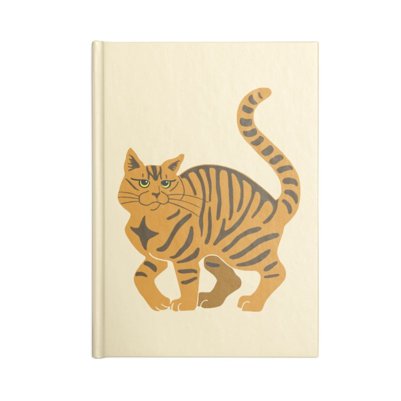 Orange Tabby Cat Accessories Lined Journal Notebook by Ferine Fire