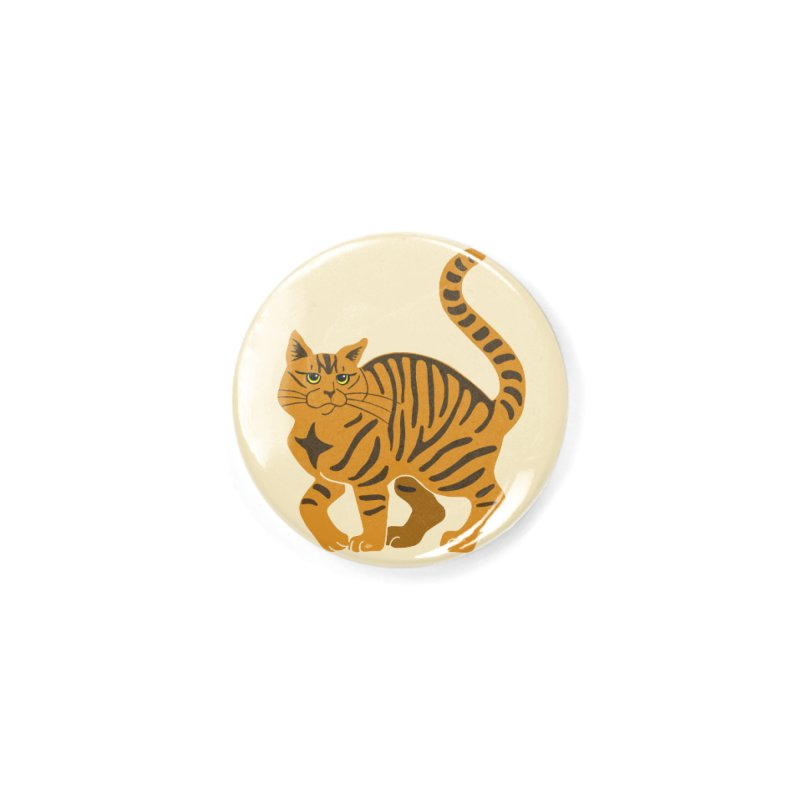 Orange Tabby Cat Accessories Button by Ferine Fire