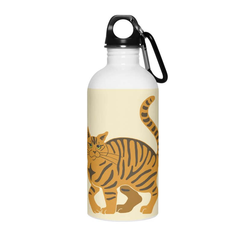 Orange Tabby Cat Accessories Water Bottle by Ferine Fire