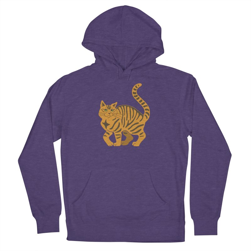 Orange Tabby Cat Men's French Terry Pullover Hoody by Ferine Fire