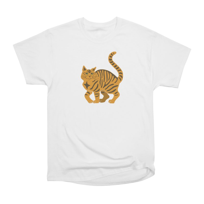 Orange Tabby Cat Men's Heavyweight T-Shirt by Ferine Fire