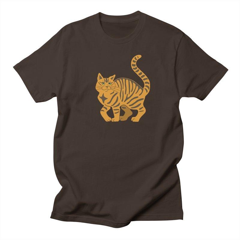 Orange Tabby Cat Men's Regular T-Shirt by Ferine Fire