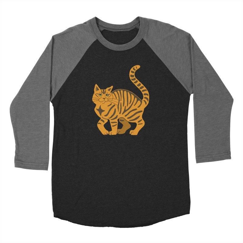 Orange Tabby Cat Men's Baseball Triblend Longsleeve T-Shirt by Ferine Fire