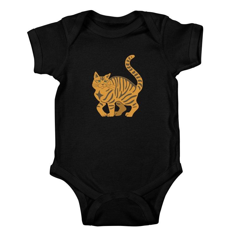 Orange Tabby Cat Kids Baby Bodysuit by Ferine Fire