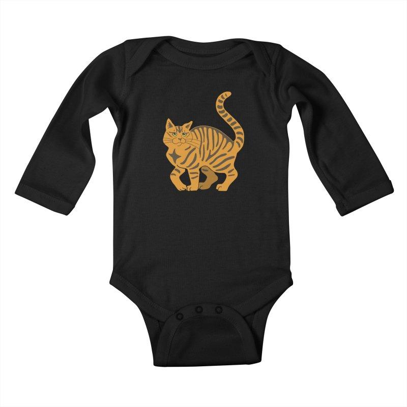 Orange Tabby Cat Kids Baby Longsleeve Bodysuit by Ferine Fire