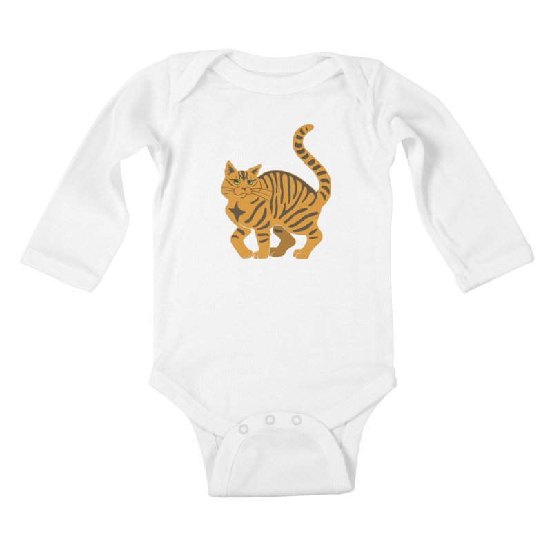 Orange Tabby Cat Kids Baby Longsleeve Bodysuit by Ferine Fire