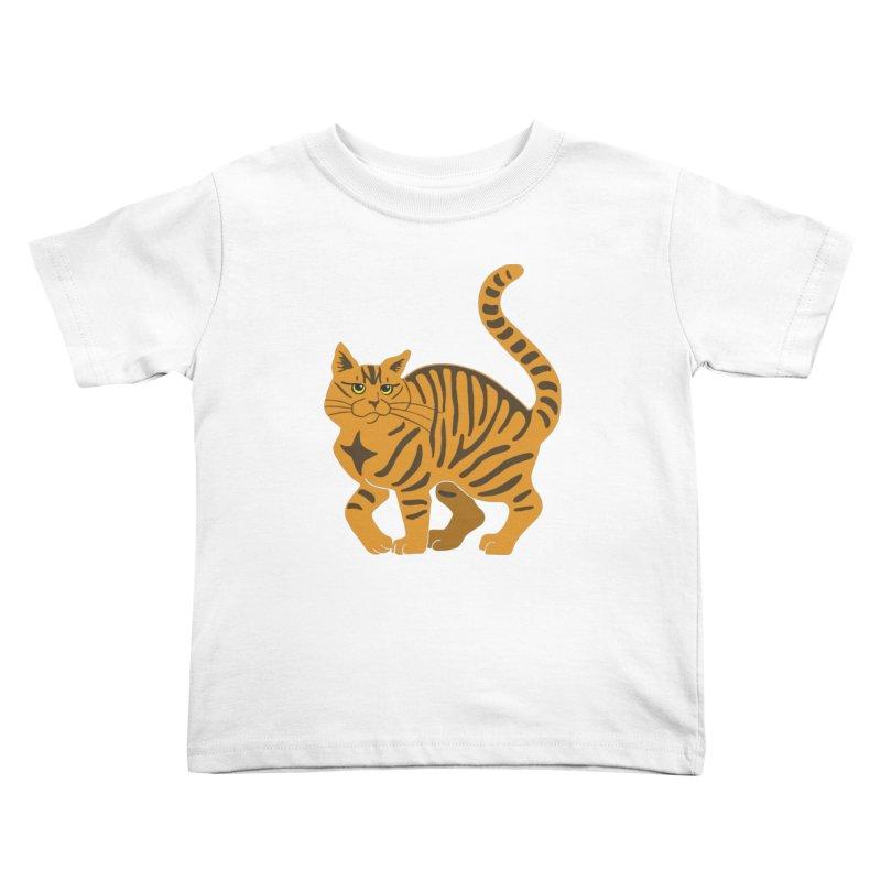 Orange Tabby Cat Kids Toddler T-Shirt by Ferine Fire