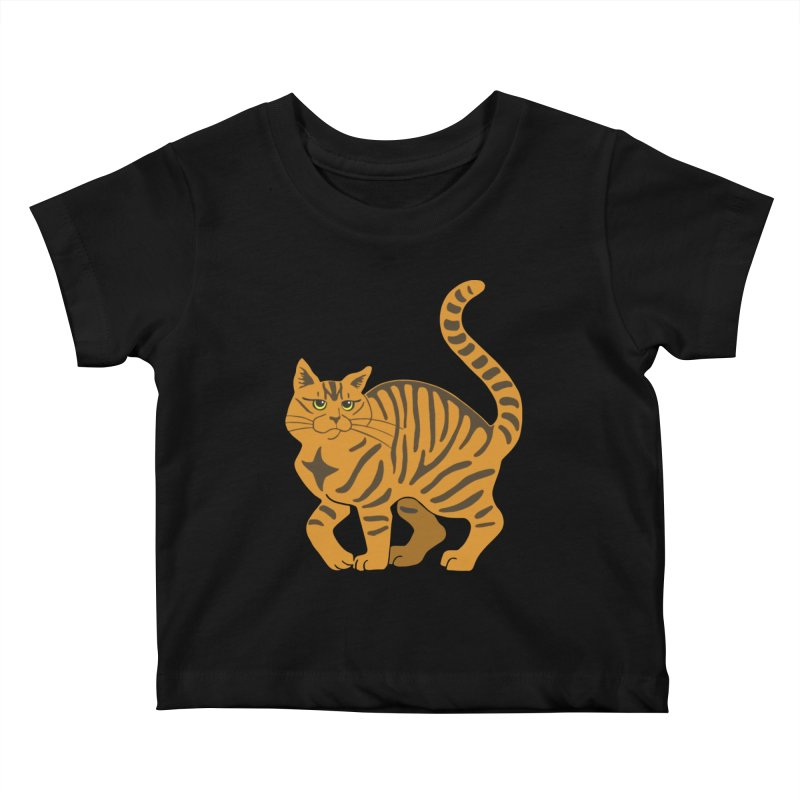 Orange Tabby Cat Kids Baby T-Shirt by Ferine Fire
