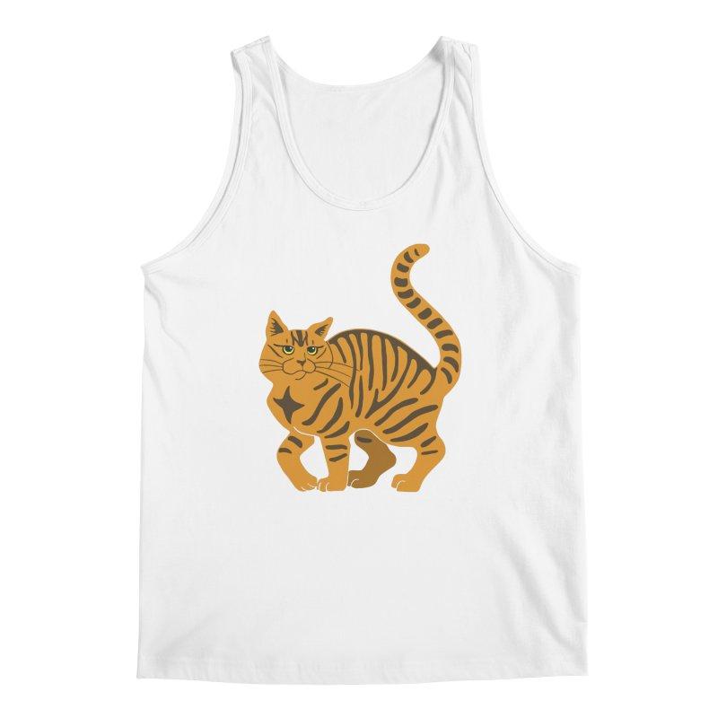 Orange Tabby Cat Men's Regular Tank by Ferine Fire