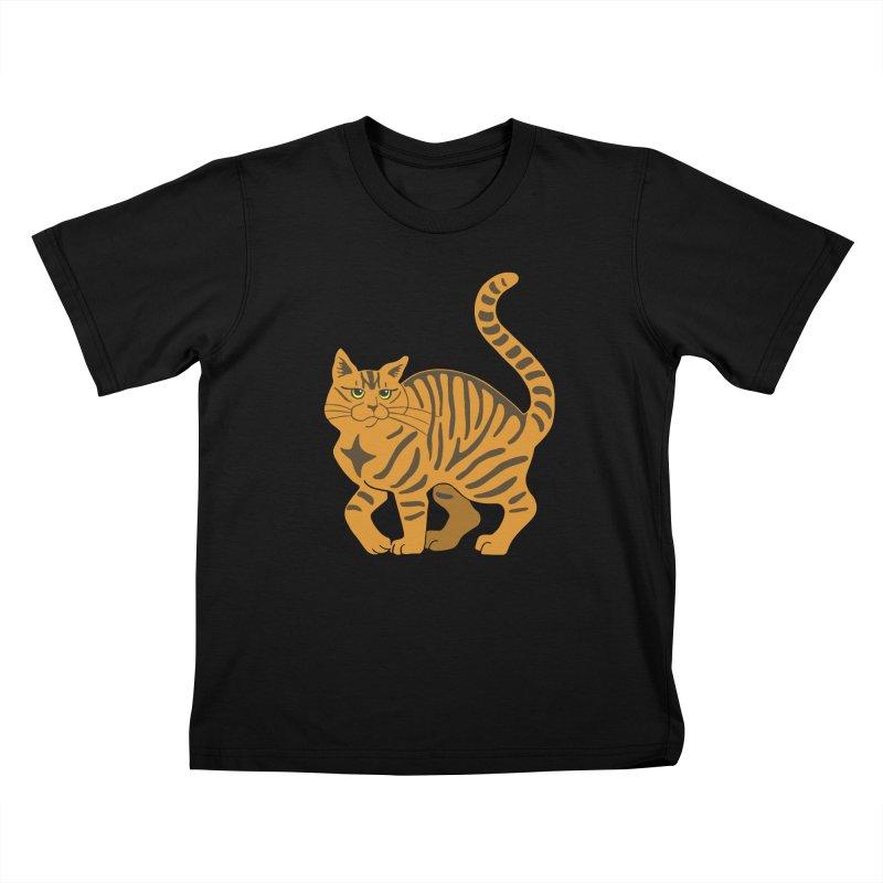 Orange Tabby Cat Kids T-Shirt by Ferine Fire