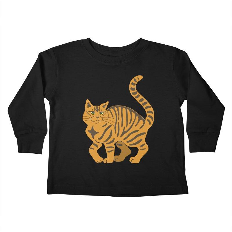 Orange Tabby Cat Kids Toddler Longsleeve T-Shirt by Ferine Fire