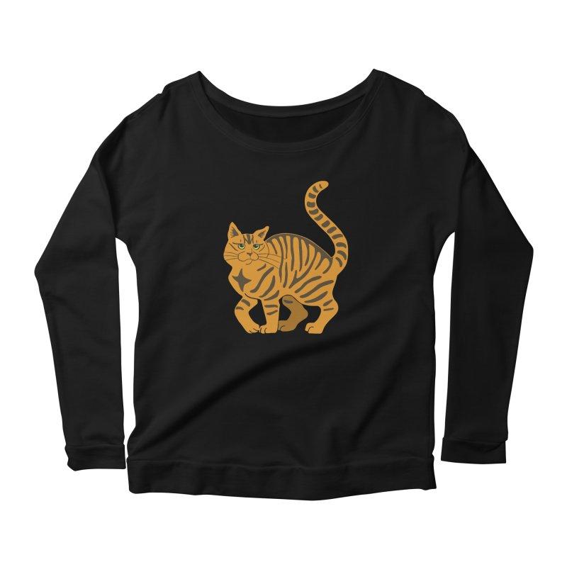 Orange Tabby Cat Women's Scoop Neck Longsleeve T-Shirt by Ferine Fire