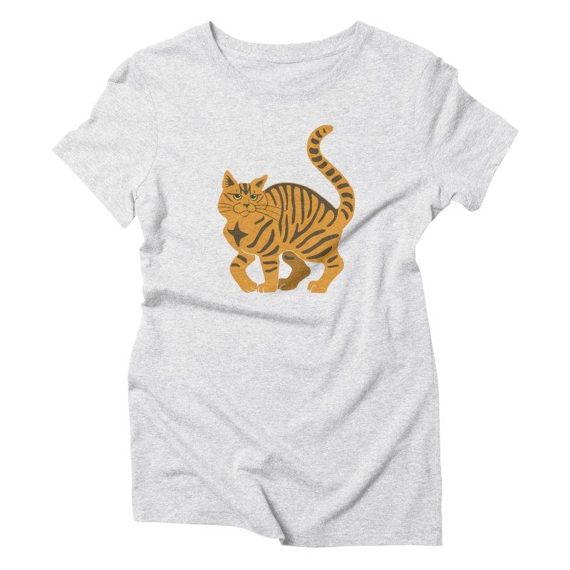 Orange Tabby Cat Women's Triblend T-Shirt by Ferine Fire