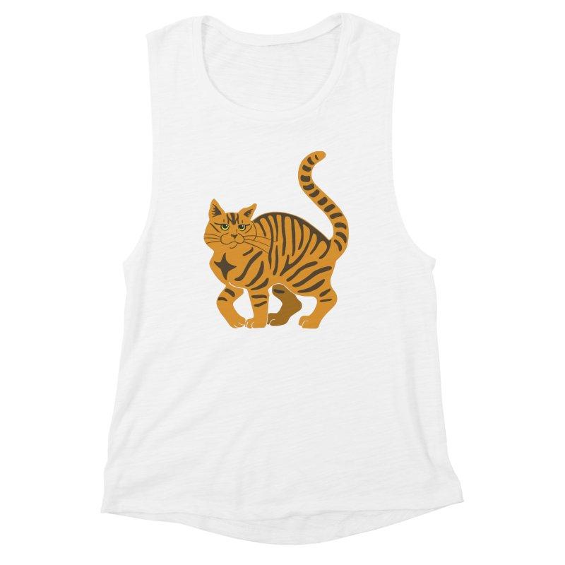 Orange Tabby Cat Women's Muscle Tank by Ferine Fire