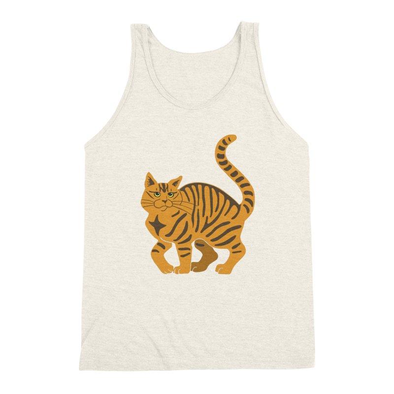 Orange Tabby Cat Men's Triblend Tank by Ferine Fire