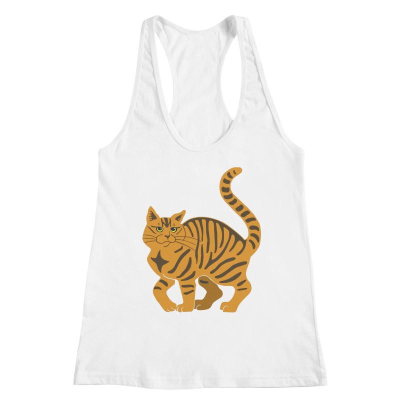 Orange Tabby Cat Women's Racerback Tank by Ferine Fire