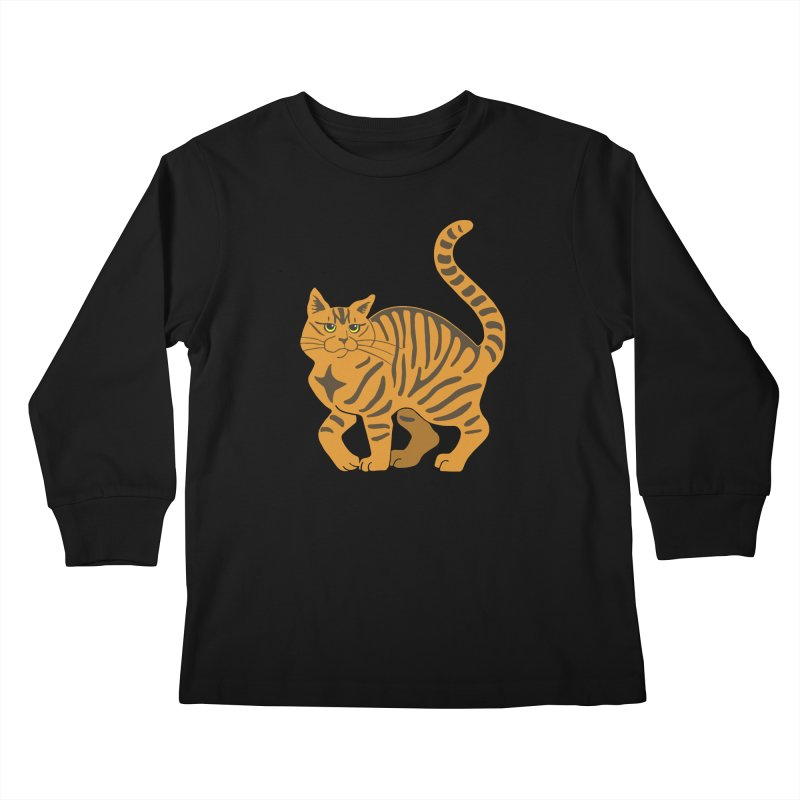 Orange Tabby Cat Kids Longsleeve T-Shirt by Ferine Fire