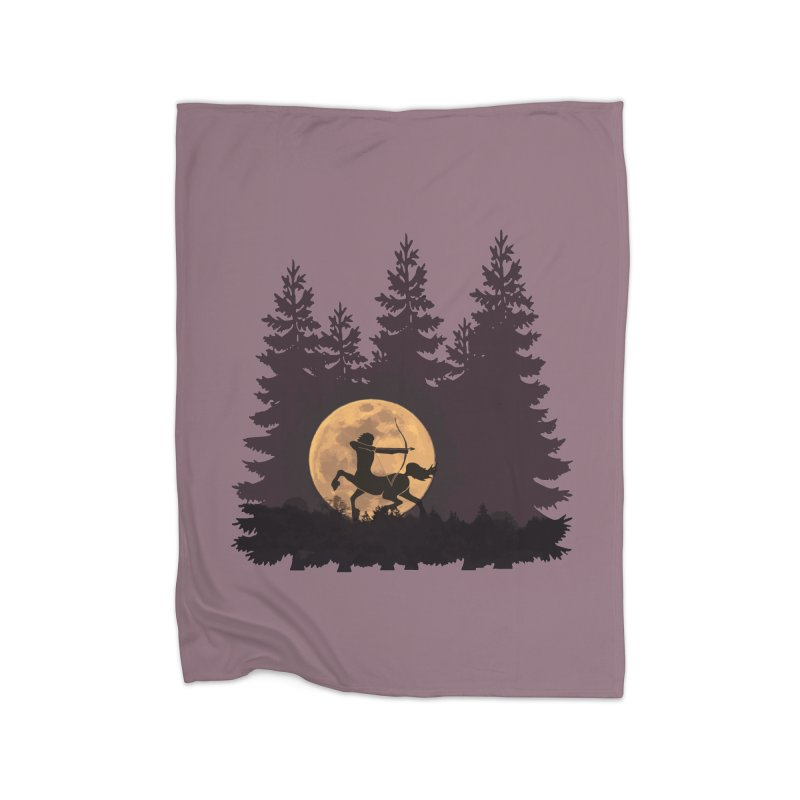 Hunter's Moon Home Fleece Blanket Blanket by Ferine Fire