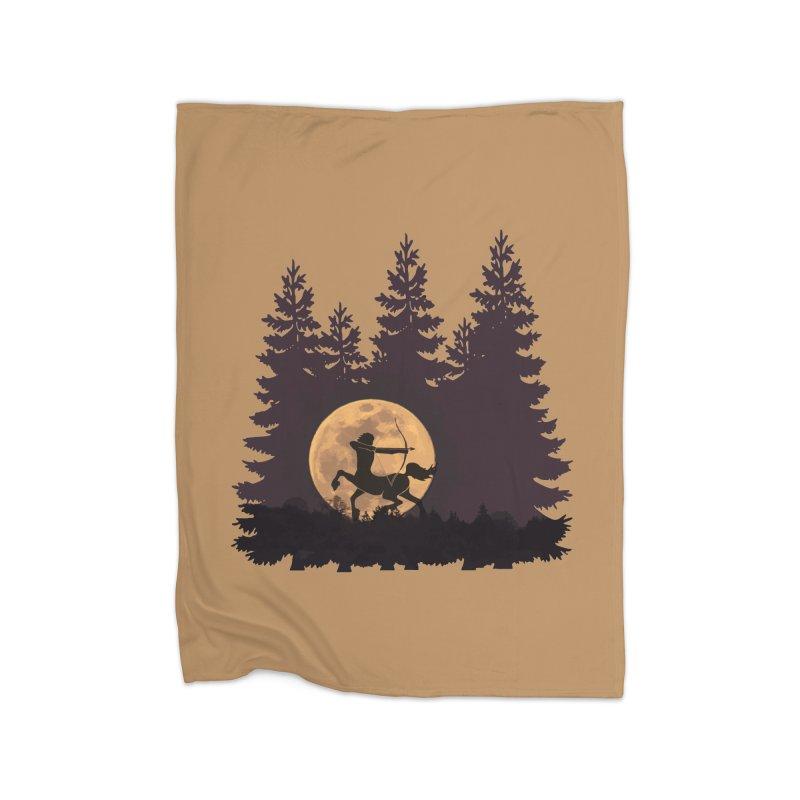 Hunter's Moon Home Fleece Blanket Blanket by Ferine Fire