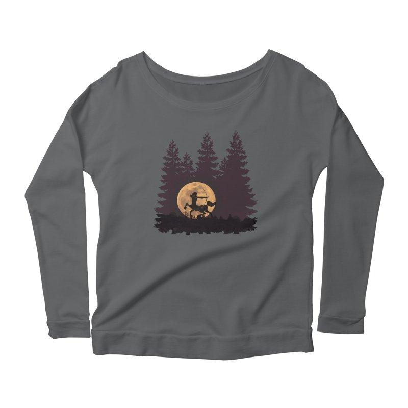 Hunter's Moon Women's Scoop Neck Longsleeve T-Shirt by Ferine Fire